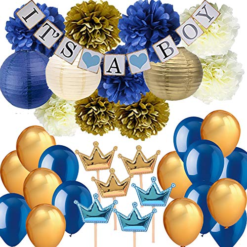 Navy Blue Baby Shower Party Decorations-Its A BOY Banner Tissue Pom Pom Paper Lanterns Balloons with Crown Cupcake Toppers Picks for Royal Prince Baby Shower Nautical Baby Shower 1st Birthday Decor