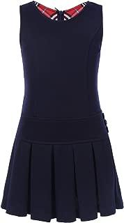 YiZYiF Girls' Kids' Stretchy Pleated Hem Durable School Uniform Jumper Dress Skirt Size 2-12