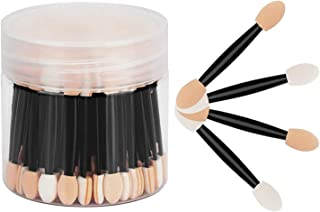 DELFINO Disposable Dual Sides Eyeshadow Brushes, Eyeshadow Applicators with Container, Disposable Eyeshadow Sponge Applica...