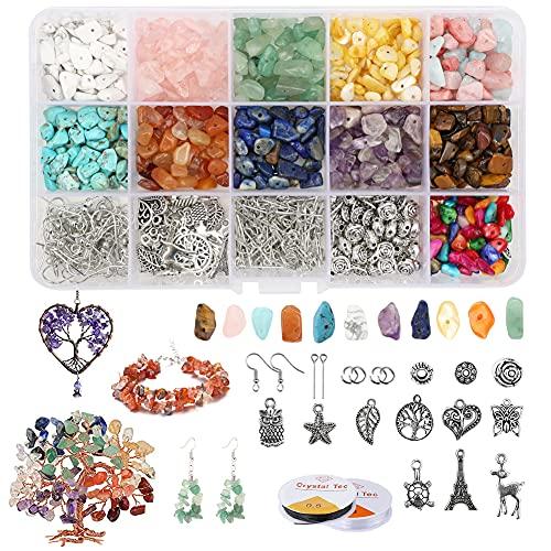 Dsaren 886 Pezzi Perline Pietre Naturale Preziose Pietre Bigiotteria Fai da Te Irregolare Pietre Kit Creazione Cristalli Pietre per Collana Braccialetto Anelli Accessori