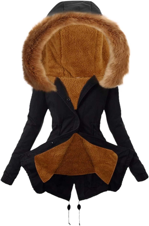 Women's Furry Lining Trench Coats Windbreaker Coat Ladies Warm Thick Outwear Faux Fur Long Jacket Hooded Overcoat Tops
