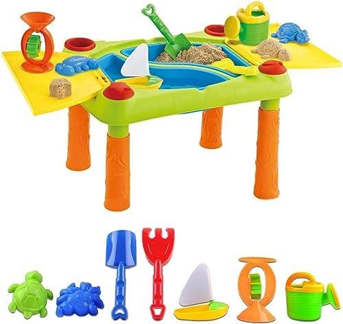 deAO Table de Jeu Sable et Eau pour Les activités d'Enfants en Plein air avec Double Compartiment, couvercles et Plus...