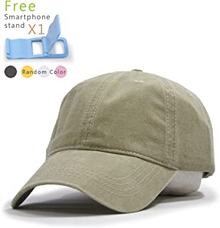 The Vintage Year Plain Washed Dyed Cotton Twill Low Profile Adjustable Baseball Cap (Khaki)