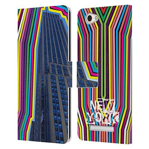 Head Hülle Designs Offizielle Grace Illustration Empire State Building New York Leder Brieftaschen Handyhülle Hülle Huelle kompatibel mit Wileyfox Spark X