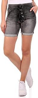 Crazy Age Damskie szorty jeansowe z gumowym ściągaczem joggdenim ściągacz tunelowy bermudy