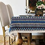 Elome Vintage 55 Inch x 55 Inch Square Cotton Linen Lace Bohemian Style Design Tablecloth, Washable Tablecloth Dinner Picnic Table Cloth Home Decorative Cover