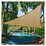 GAOYUY Vela De Sombra Impermeable, Arena Triángulo Toldo Protector Solar con Dosel 100% Poliéster [PES] para Piscina Y Balcón (Color : Sand, Size : 3x3x3m)