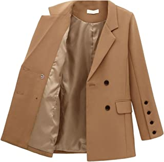 Women's Casual Solid Color Double Breasted Office Blazer OL Long Sleeve Suits Jacket