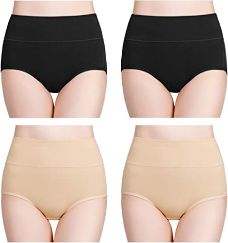 wirarpa Culottes Femmes Coton Taille Haute sous-vêtements Slip Elasticité Boxer Femme Ventre Plat