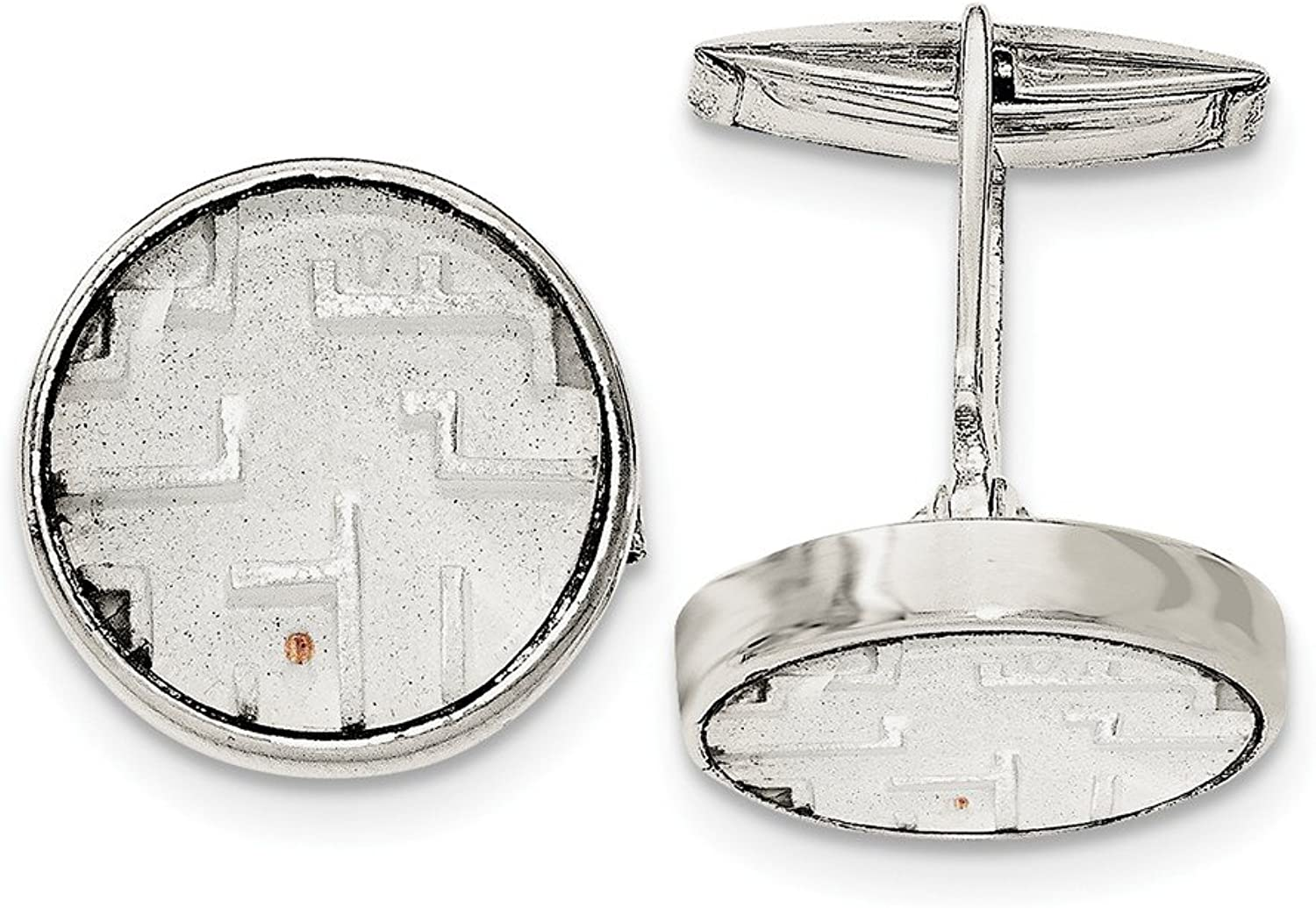 Sterling Silver Maze With Copper Bead Cuff Links