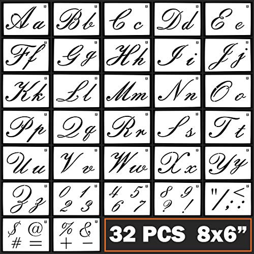 Caligraphy Stencil Letters Cursive Alphabet Letter Number Drawing Painting Stencils Scale Template Sets for Bullet Journal Stencil Planner / Scrapbook / DIY Painting Craft for Painting on Wood
