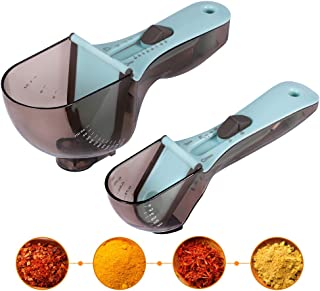 Adjustable Measuring Cups and Spoons Sets 2 Pcs, INVOKER Multi-US Markings Magnetic Teaspoon Tablespoon Scoop (Tsp Tbsp Cup ML OZ) for Liquid, Dry, Powder Measuring, BPA Free