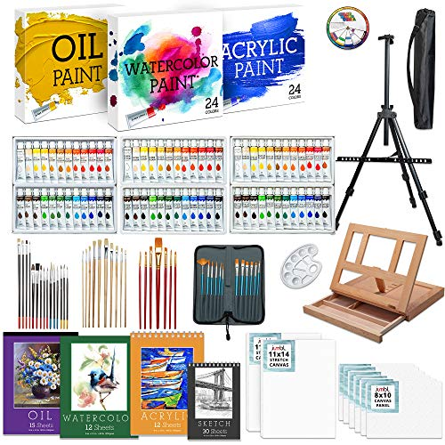 Jumbl Deluxe 131-Piece Painting Kit,Professional Artistic Set w/ 72 Oil, Acrylic & Watercolor Paints, Color Wheel & Palette, Wooden Desk & Standing Easel, 8 Canvases, 4 Sketch Books & 4 Brush Sets