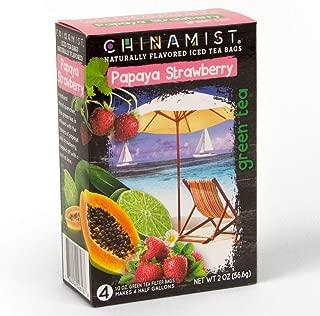 China Mist - Naturally Flavored Papaya Strawberry Green Iced Tea Bags - Each Tea Bag Yields 1/2 Gallon