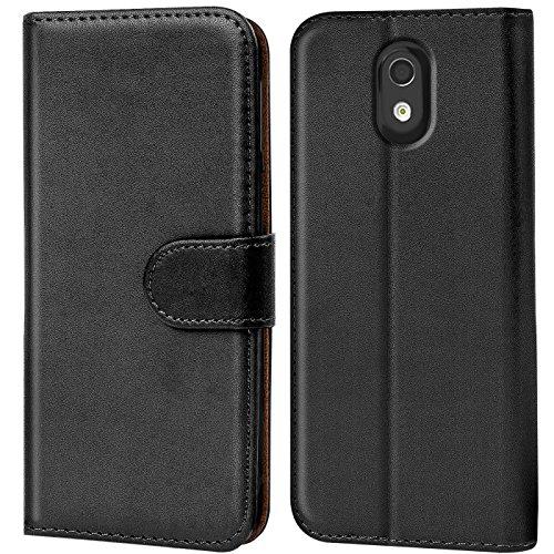 Verco Desire 526G Hülle, Handyhülle für HTC Desire 526G > 526 Tasche PU Leder Flip Case Brieftasche - Schwarz