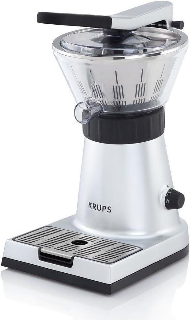 Krups Citrus Press ZX7000 - Exprimidor con tapa y clip para sujetar cítricos, filtro de pulpa, boquilla de servicio directo al vaso, 130 W, acero inoxidable, color plata