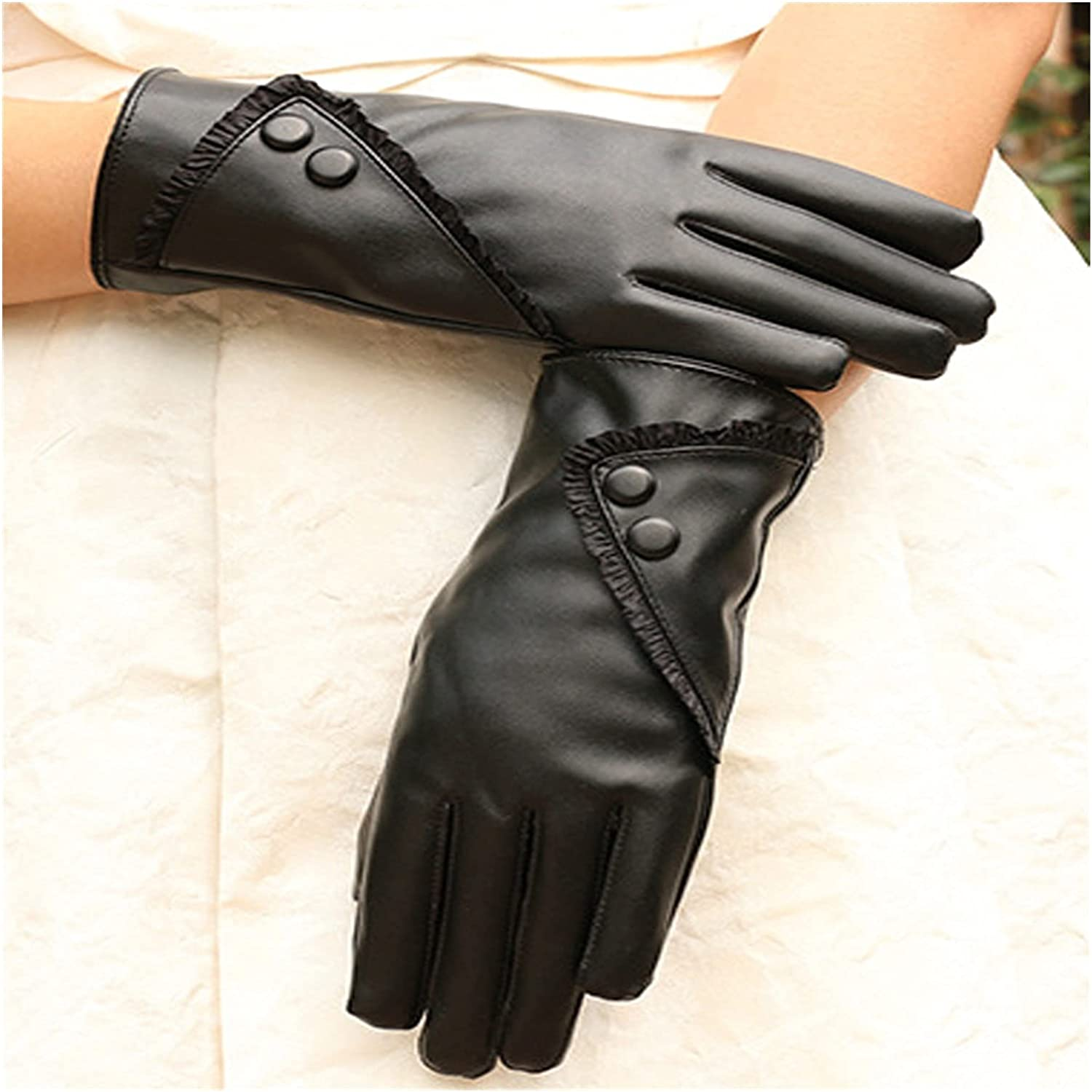 Ladies Winter Warm Soft Gloves Outdoor Windproof Touch Screen Mittens (Color : 1)