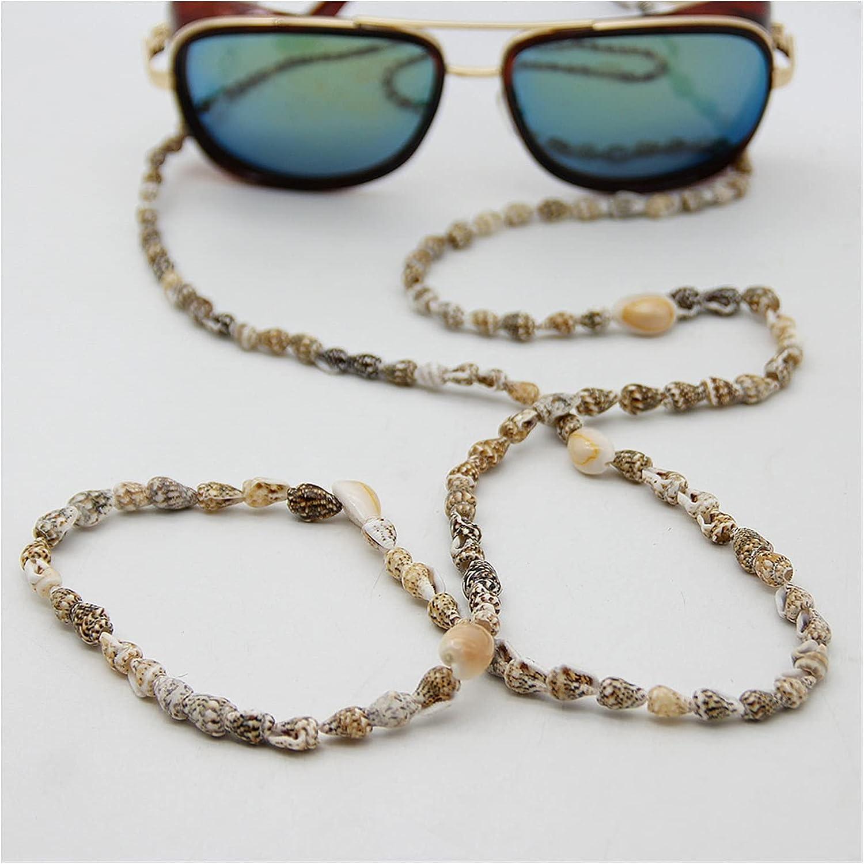 GWSD Seashell Conch Glasses Chain Sunglasses Eyewears Cord Holder Boho Natural Shell Beads Eyeglass Strap Rope Lanyard (Color : Multi-Colored)