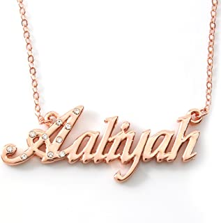 """Name Necklace""""AALIYAH"""" 18K Rose Gold Plated"""