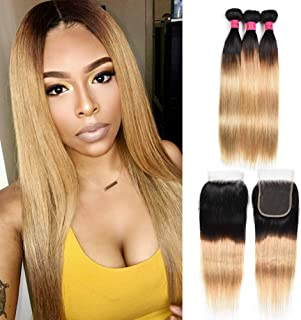 FASHION LADY Ombre Virgin Brazilian Straight Hair Weaves 3 Bundles With 4x4 Lace Closure Free Part Dark Root to Honey Blonde Human Hair Extensions(14 16 18+14Inch T1B/27)
