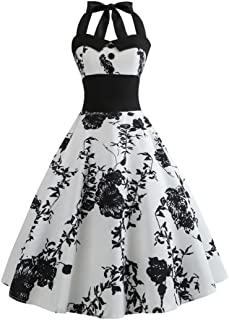 Pingtr 1950s Vintage Rockabilly Dresses for Women, 20s-60s Women Vintage Printing Bodycon Sleeveless Halter Evening Party ...
