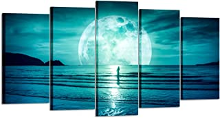 Kreative Arts - Large 5 Piece Full Moon Hanging On The Dark Blue Sky Canvas Prints Seascape Pictures Ocean Wall Art Framed for Living Room Bedroom Office Home Decoration (Large Size 60x32inch)