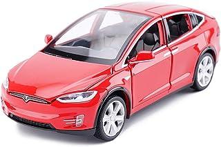 ZY Modelo de Coche Tesla X Todoterreno SUV uno y Treinta y Dos de simulación de fundición a presión de aleación de Juguete Modelo de Coche decoración 15x5.5x4.5CM Rojo LOLDF1
