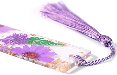 Dried Flower Resin Bookmark with Gold Foil, Gift for Women, Teacher and Friend (Purple)