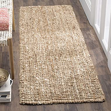 Safavieh Natural Fiber Collection NF447N Hand Woven Natural and Ivory Jute Runner (2'6  x 6')