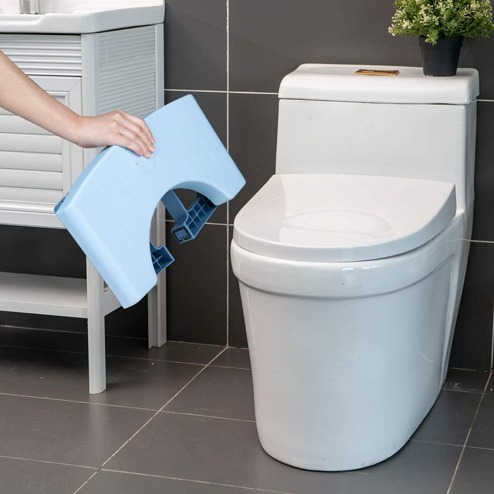 Blue Pantula Toilet Stool Lightweight Squatting Step Foldable with Non-Slip Base 6.7 Height Safe Healthier Proper Posture Simple Design for Kids Adults