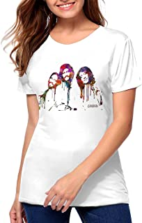 Bee Gees Art Women's Fashion Cotton Short Sleeve Round Neck Shirts Black