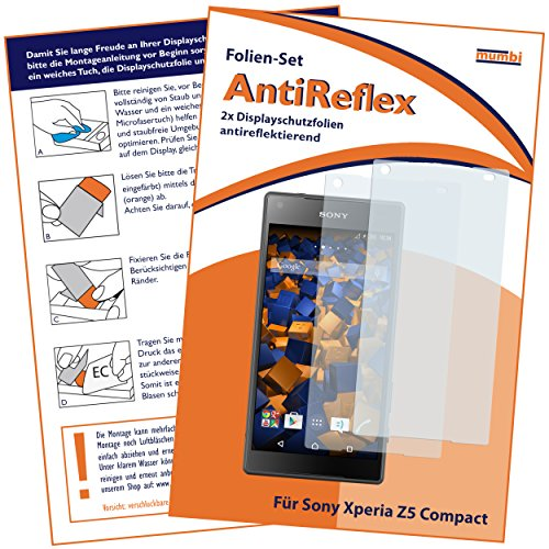 mumbi Schutzfolie kompatibel mit Sony Xperia Z5 Compact Folie matt, Bildschirmschutzfolie (2X)