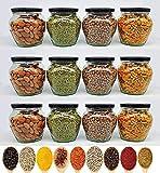 PRAMUKH FASHION Pot Matka Glass Jars Kitchen Black Air Tight lid Glass Jars Grocery Pickle Cereal Glass Jars,400 ml, Pack of (12)