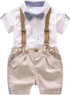 Aijoo ??子供服 男の子 トップスパンツ 丸首 半袖tシャツ ロングパンツ ベビー服 赤ちゃん服 ボーイズ 夏服 セットアップ 可愛い 人気 紳士シャツ バックパンツ スーツ セット服
