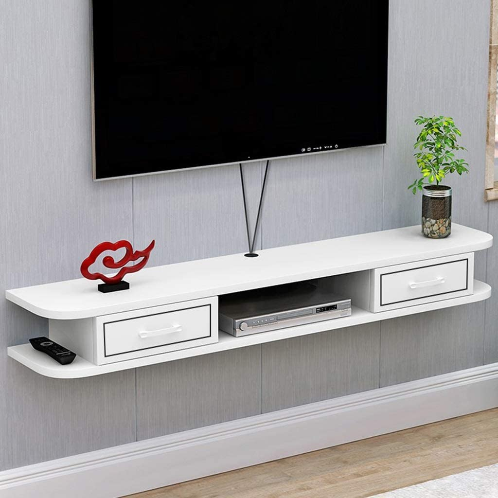 Floating Shelf Floating Tv Shelf Wall Mounted Tv Console Tv Stand Storage Cabinet With 2 Drawers Tv Component Shelf Desk Storage Unit Hanging Hutch For Home Living Room Office Media Console Video