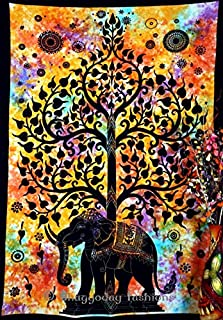 Handicrunch Indian Psychedelic Celestial Elephant Tree Of Life Tapestry ,Good Luck Hand Tie Dye Elephant Tapestry , Hippie...