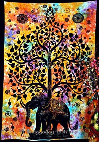 Bhagyoday Wandteppich, aus Baumwolle, handgedruckt, Motiv: Indischer Elefant & Baum des Lebens, 137x 218cm