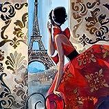 Fuumuui Lienzo de Bricolaje Regalo de Pintura al óleo para Adultos niños Pintura por número Kits Decoraciones para el hogar -Vestido Rojo Paris 16 * 20 Pulgadas