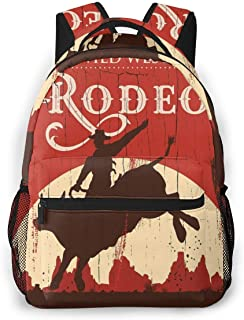 Durable Polyester Rucksacks Cowboy Riding Bull Wlid West Rodeo Cactus Wooden Red Travel Hiking Backpack - Big Capacity Anti-Theft Multipurpose Carry-On Bag for Boys Girls