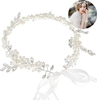 Bohemian Headpiece Crystal Pearl Bridal Hair Vine Halo Wedding Headband Tiara White Silk Chain