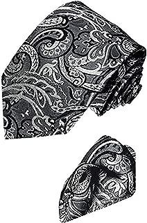 LORENZO CANA - Luxury Italian 100% Pure Silk Woven Tie Hanky Set Black White Paisley - 3600701