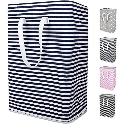 Cesto de almacenamiento para la colada sin marca, 96 L, impermeable, plegable, con soportes desmontables y forro extendido para guardar ropa, plegable (azul, 41 x 31 x 61 cm)