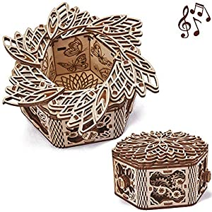 Wood Trick Mystery Flower Für Elise Wooden Music Box Kit - Keepsake & Jewelry Box - 3D Wooden Puzzle for Adults and Kids to Build - DIY by Wood Trick