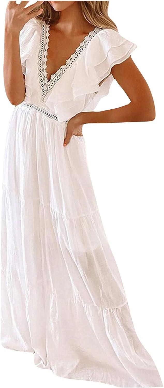 Rpvati Women Fashion V-Neck Floor-Length Maxi Dress Elegant Wrap Evening Dresses