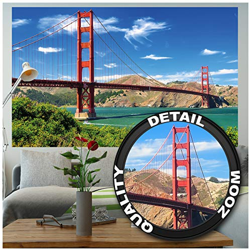 GREAT ART XXL Poster – Golden Gate Bridge – Wandbild Dekoration Vereinigte Staaten Sehenswürdigkeiten San Francisco Kalifornien California Wandposter Fotoposter Wanddeko Bild (140 x 100cm)