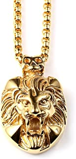 Fashion Men Women 18k gold plating chain Lion Head necklace pendants