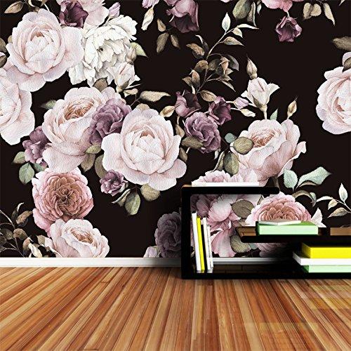 WH-PORP Große benutzerdefinierte 3D Fototapete Rose Pfingstrose Baum Blume Schwarz Weiß Tapeten für Wohnzimmer-128cmX100cm