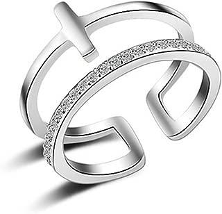 Bamoer .925 Sterling Silver Ring avec Zircon Cubique Moderne à la mode fleur pour femmes