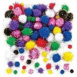Baker Ross- Pompones con purpurina (Pack de 100) Para decorar manualidades infantiles