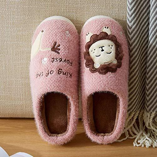 Luntus Zapatillas de Felpa para Mujer, Dibujos Animados de León, Invierno, cálidos y Peludos, Zapatos de Suela Suave, Mujer, Hombre, Parejas, hogar, Dormitorio Interior,toboganes paraMujer
